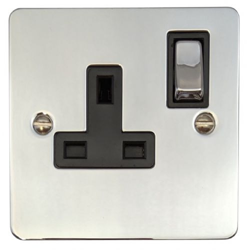 G&H FC309 Flat Plate Polished Chrome 1 Gang Single 13A Switched Plug Socket